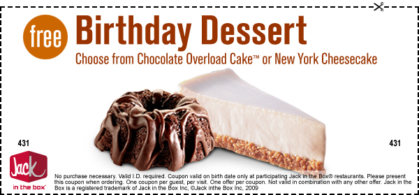 Jack in the Box Free dessert on your birthday no purchase